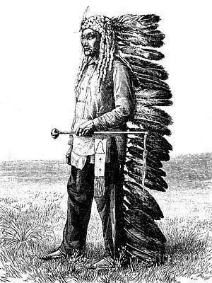 Old West Drawing - A Native American by French School