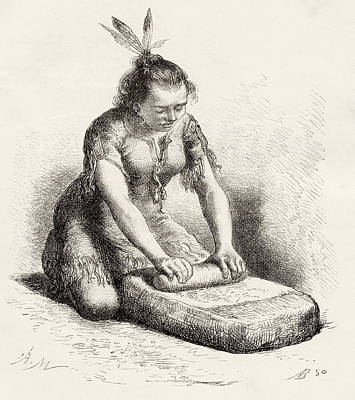 Native Drawing - A Native Guayan Woman Crushing Grain by Vintage Design Pics
