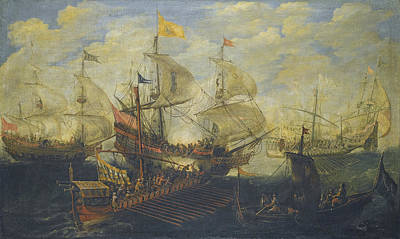 Painting - A Naval Battle Between Turks And Christians by Andries van Eertvelt