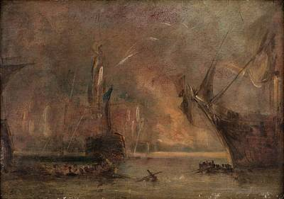 A Naval Engagement Art Print by William Turner