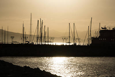 Photograph - A Necklace Of Old World Street Lights - Golden Morning At Naples Marina by Georgia Mizuleva