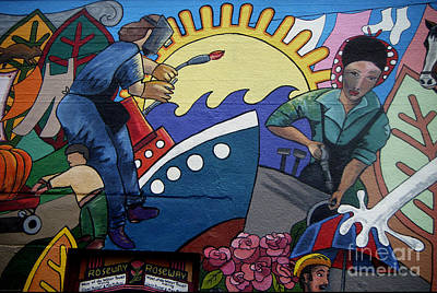 A Neigborhood In Motion Mural  Rosie The Riviter And Wendy The Welder Art Print by Angelina Marino