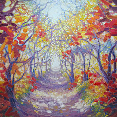 Mystical Landscape Painting - A New Beginning by Gill Bustamante