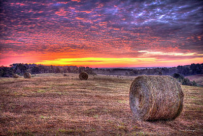 Art Print featuring the photograph Before A New Day Georgia Hayfield Sunrise Art by Reid Callaway