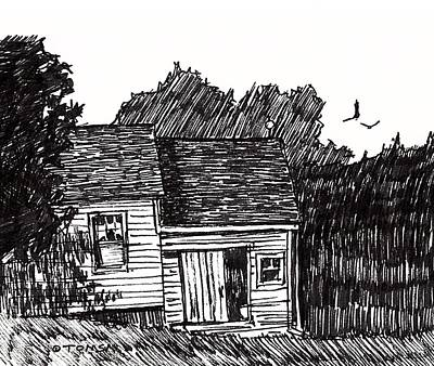 Drawing - A New England House by Bill Tomsa