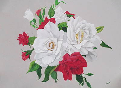 Painting - A New Rose Bouquet by Hilda and Jose Garrancho