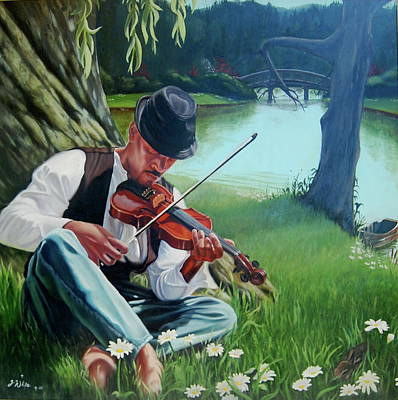 Painting - A New Song For Fiddler by Jerome White