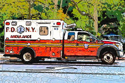 Painting - A New York Fire Department Ambulance by Jeelan Clark