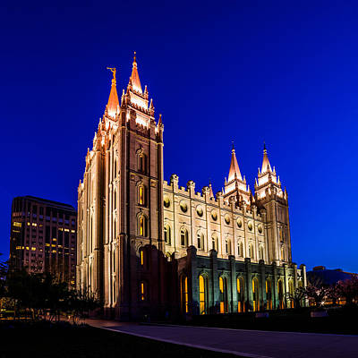 Photograph - A Night At The Salt Lake Temple by TL  Mair