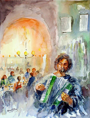 Art Print featuring the painting A Night At The Tavern by Faruk Koksal