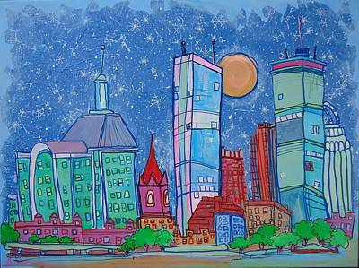 Cambridge Painting - A Night In Boston by Jess Lawrence