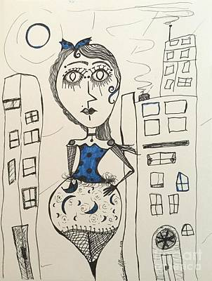Catwalk Drawing - A Night In The City by Damaya Hoffman