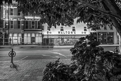 Walmart Photograph - A Night On The Bentonville Arkansas Square Black White by Gregory Ballos