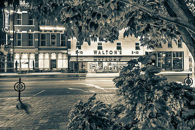 Arkansas Photograph - A Night On The Bentonville Arkansas Square Sepia Black White by Gregory Ballos