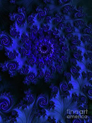 Digital Art - A Nine Of Roses / Blue by Elizabeth McTaggart