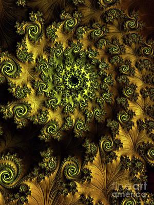 Digital Art - A Nine Of Roses / Gold by Elizabeth McTaggart
