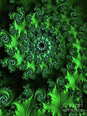 Digital Art - A Nine Of Roses / Green by Elizabeth McTaggart