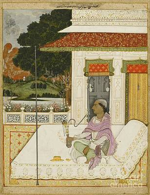18th Century Painting - A Nobleman Smoking A Hookah On A Terrace With A Distant Riverscape by Celestial Images