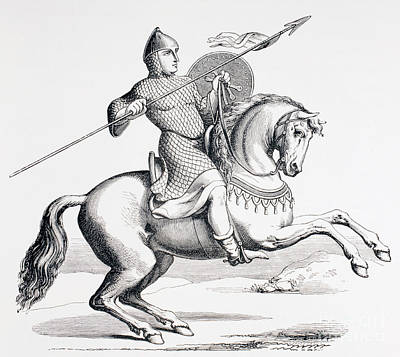 Pen And Ink Drawing Drawing - A Norman Knight Dressed In Chain Mail And Helmet Carrying Spear And Shield by French School