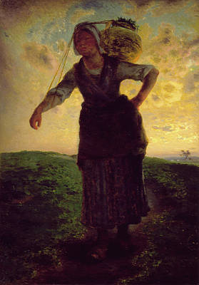Realistic Painting - A Norman Milkmaid At Greville by Jean-Francois Millet