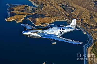 A North American P-51d Mustang Flying Print by Scott Germain