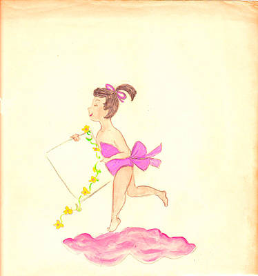 Angelic Drawing - A Note From Heaven  Retro by Rosalie Scanlon
