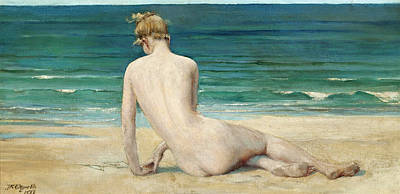 A Nude Seated On The Shore Art Print by John Reinhard Weguelin