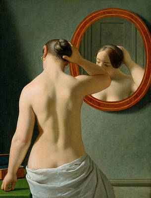 Painting - A Nude Woman Doing Her Hair Before A Mirror by Christoffer Wilhelm Eckersberg