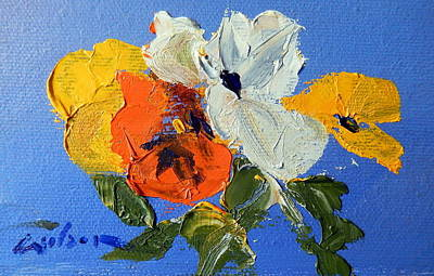 A Nudge Of Pansies Art Print by Ron Wilson
