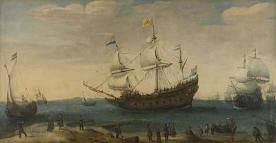 Color Painting - A Number Of East Indiamen Off The Coast The Mauritius And Other East Indiamen Sailing Out Of The Ma by Celestial Images
