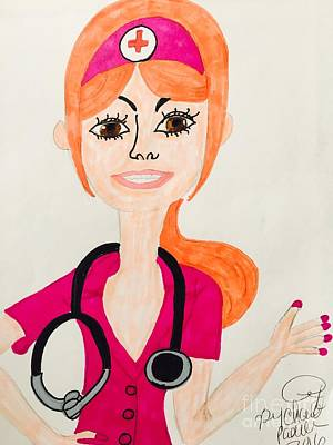 Drawing - A Nurse  by Charita Padilla