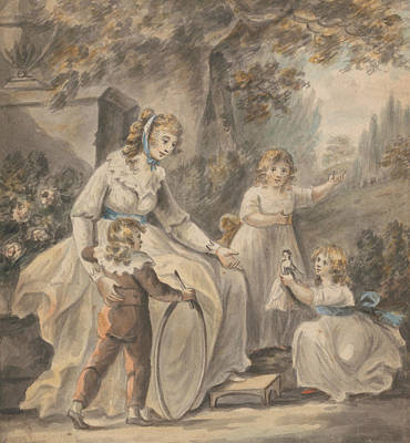 Child With Flowers Painting - A Nurse With Three Children by Paul Sandby