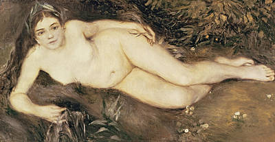1869 Painting - A Nymph By A Stream by Pierre Auguste Renoir