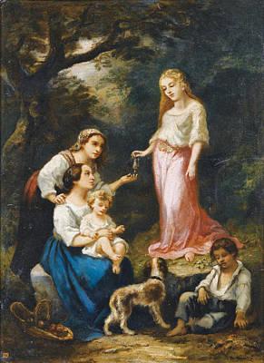 Painting - A Nymph's Gift In The Bois De Lisle by Narcisse-Virgile Diaz de la Pena