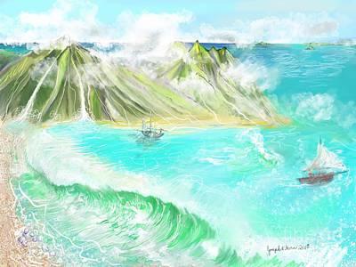 Digital Art - A Ocean Some Where by Joseph Mora
