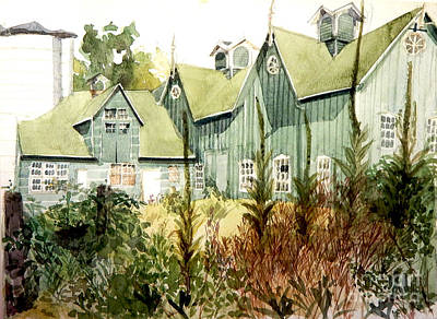 Parks - Watercolor of an old wooden barn painted green with silo in the sun by Greta Corens