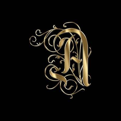 Shirt Digital Art - A Ornamental Letter Gold Typography by Georgeta Blanaru
