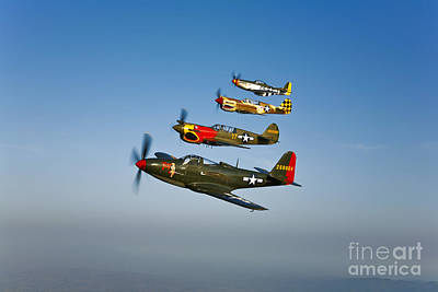 Photograph - A P-36 Kingcobra, Two Curtiss P-40n by Scott Germain
