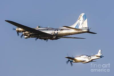 A P-51 Mustang Flies Alongside A B-17 Art Print