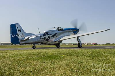 Thomas Kinkade Royalty Free Images - A P-51 Mustang Taxiing At Waukegan Royalty-Free Image by Rob Edgcumbe