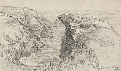 Landscape Drawing - A Page From A Cornish Sketchbook - Cornwall 30 by Samuel Palmer
