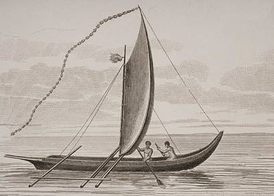 Outrigger Drawing - A Pahie. A Tahitian Boat. From A Print by Vintage Design Pics