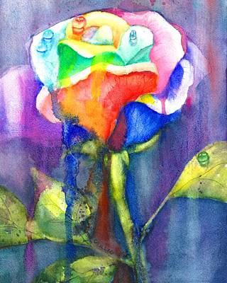 A Painted Rose In The Rain Original