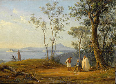 Painting - A Painter At Work In An Italianate Coastal Landscape by Antonie Sminck Pitloo