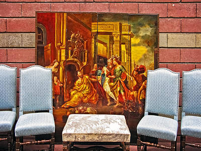 A Painting And 4 Chairs Print by David Thompson