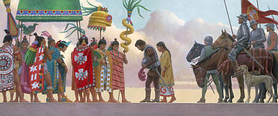 A Painting Of Aztec Ruler Moctezuma II Print by Ned M. Seidler