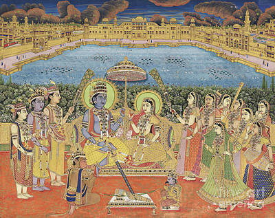 Avatar Painting - A Painting Of Rama And Sita, India, Jaipur, Circa 1800  by Indian School