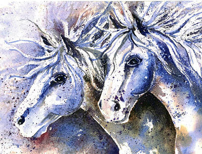 Wall Art - Painting - A Pair In Blue by Cheryl Bishop