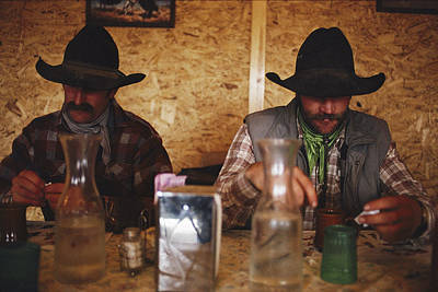 A Pair Of Cowboys Enjoy A Cup Of Coffee Art Print