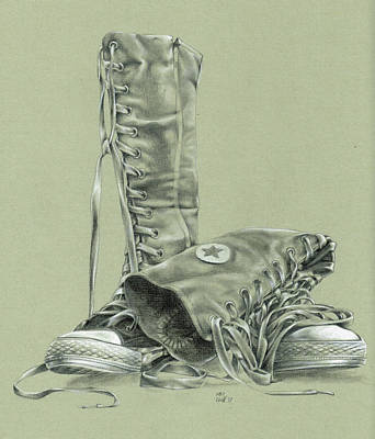 Drawing - A Pair Of Fake Converse Boots by Richard Mountford